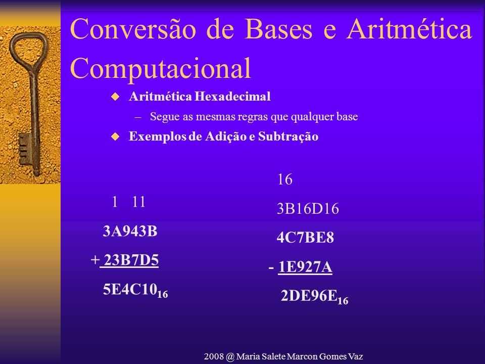 2008 @ Maria Salete Marcon Gomes Vaz Conversão de Bases e Aritmética Computacional 16 3B16D16 4C7BE8 - 1E927A 2DE96E 16 1 11 3A943B + 23B7D5 5E4C10 16