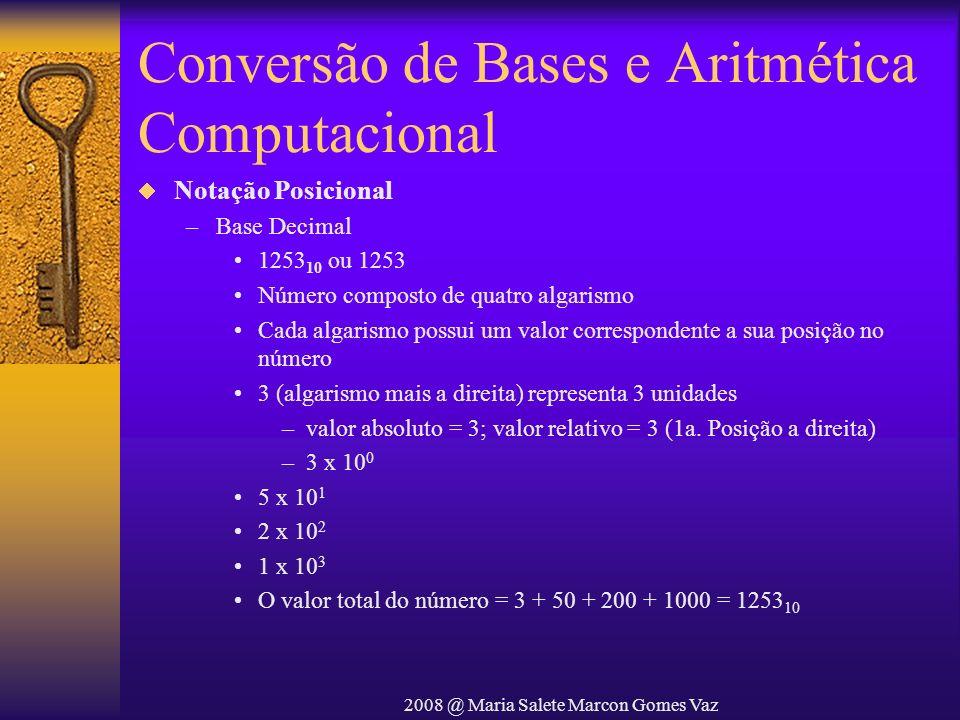 2008 @ Maria Salete Marcon Gomes Vaz Conversão de Bases e Aritmética Computacional Notação Posicional –Base Decimal 1253 10 ou 1253 Número composto de