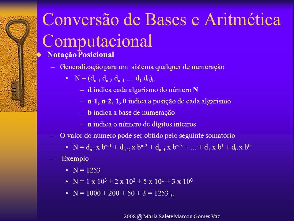 2008 @ Maria Salete Marcon Gomes Vaz Conversão de Bases e Aritmética Computacional Notação Posicional –Generalização para um sistema qualquer de numer