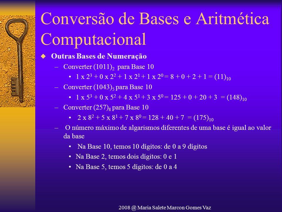 2008 @ Maria Salete Marcon Gomes Vaz Conversão de Bases e Aritmética Computacional Outras Bases de Numeração –Converter (1011) 2 para Base 10 1 x 2 3