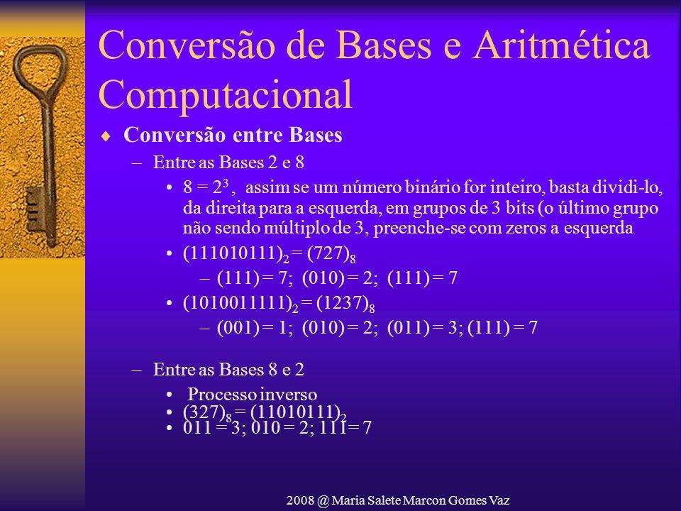 2008 @ Maria Salete Marcon Gomes Vaz Conversão de Bases e Aritmética Computacional Conversão entre Bases –Entre as Bases 2 e 8 8 = 2 3, assim se um nú