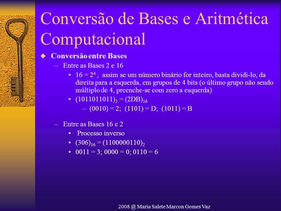 2008 @ Maria Salete Marcon Gomes Vaz Conversão de Bases e Aritmética Computacional Conversão entre Bases –Entre as Bases 2 e 16 16 = 2 4, assim se um