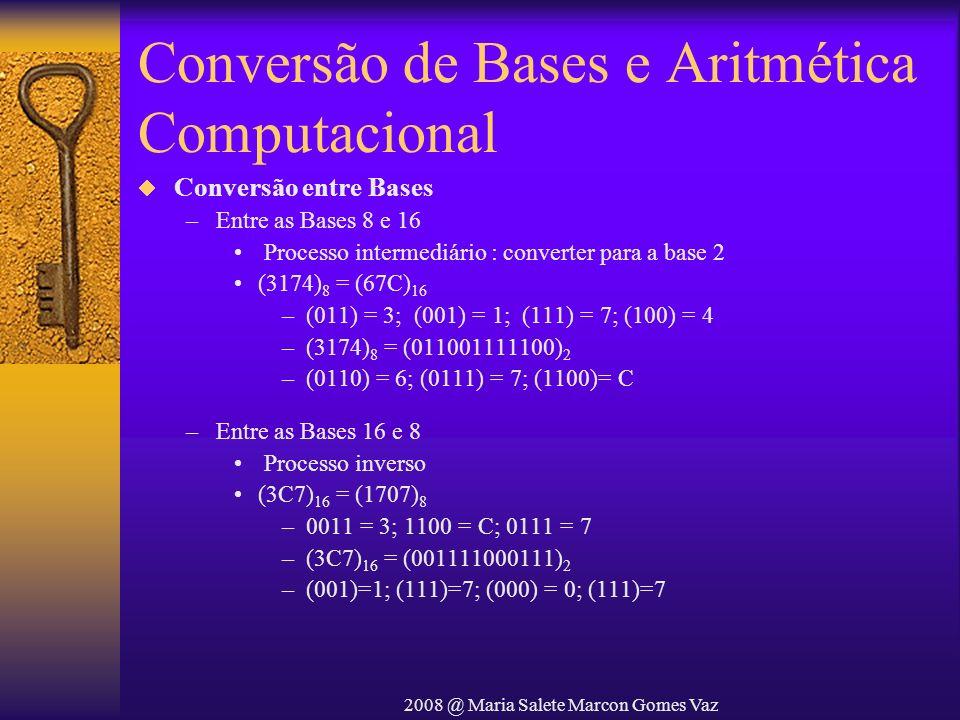 2008 @ Maria Salete Marcon Gomes Vaz Conversão de Bases e Aritmética Computacional Conversão entre Bases –Entre as Bases 8 e 16 Processo intermediário