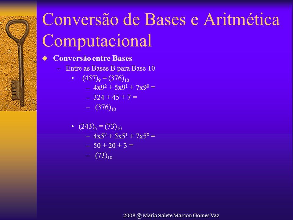 2008 @ Maria Salete Marcon Gomes Vaz Conversão de Bases e Aritmética Computacional Conversão entre Bases –Entre as Bases B para Base 10 (457) 9 = (376