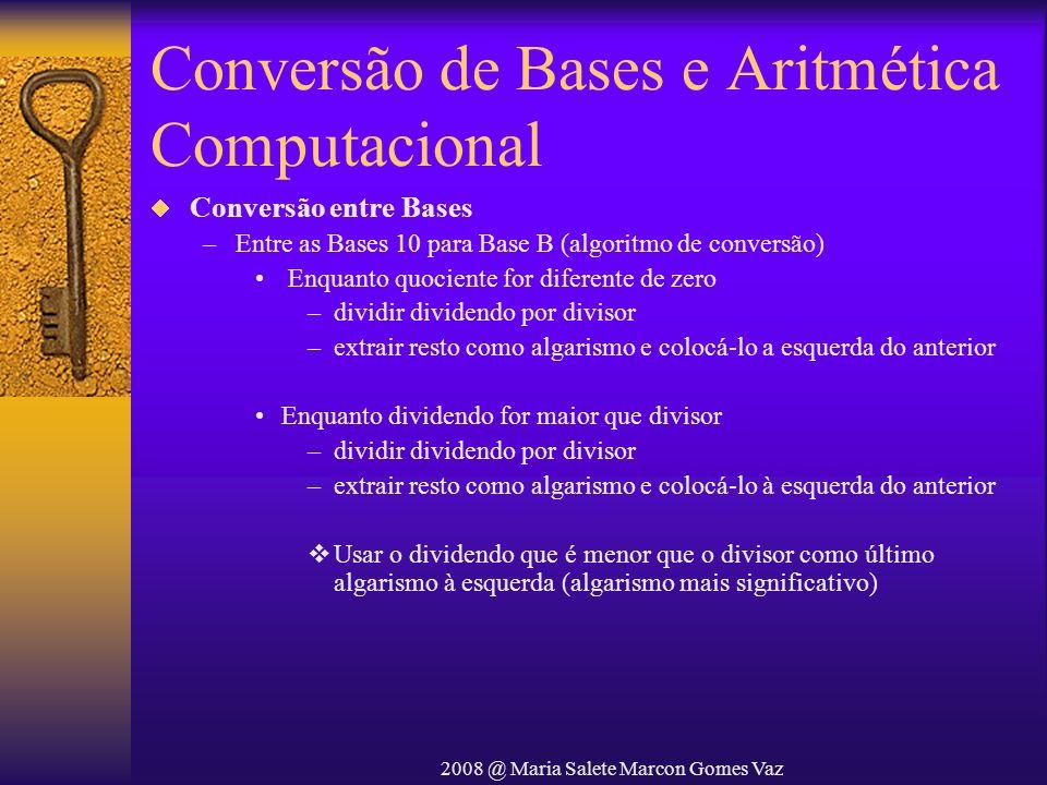 2008 @ Maria Salete Marcon Gomes Vaz Conversão de Bases e Aritmética Computacional Conversão entre Bases –Entre as Bases 10 para Base B (algoritmo de