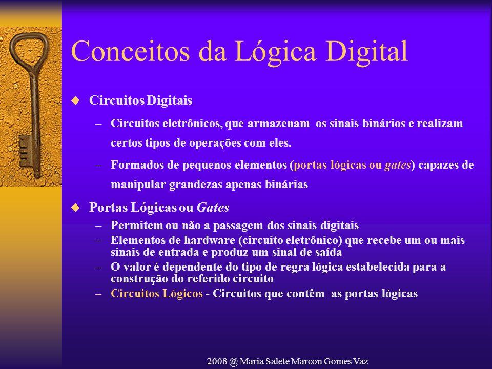 2008 @ Maria Salete Marcon Gomes Vaz Conceitos da Lógica Digital Circuitos Digitais –Circuitos eletrônicos, que armazenam os sinais binários e realiza