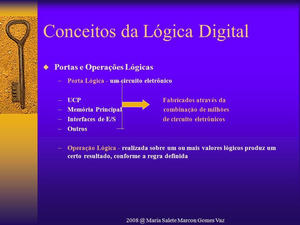 2008 @ Maria Salete Marcon Gomes Vaz Conceitos da Lógica Digital Portas e Operações Lógicas –Porta Lógica - um circuito eletrônico –UCP Fabricados atr