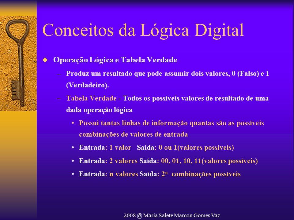 2008 @ Maria Salete Marcon Gomes Vaz Conceitos da Lógica Digital Operação Lógica e Tabela Verdade –Produz um resultado que pode assumir dois valores,