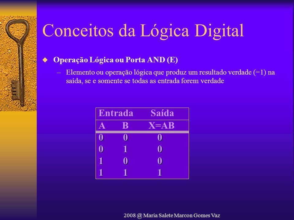 2008 @ Maria Salete Marcon Gomes Vaz Conceitos da Lógica Digital Operação Lógica ou Porta AND (E) –Elemento ou operação lógica que produz um resultado