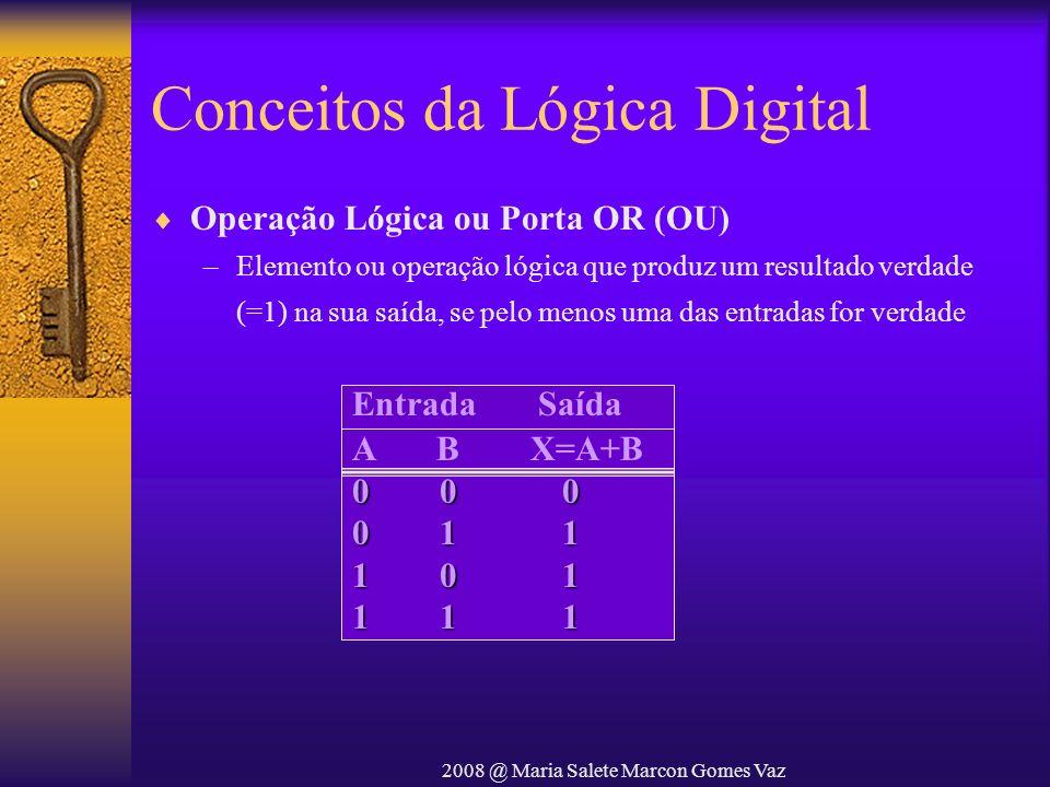 2008 @ Maria Salete Marcon Gomes Vaz Conceitos da Lógica Digital Operação Lógica ou Porta OR (OU) –Elemento ou operação lógica que produz um resultado