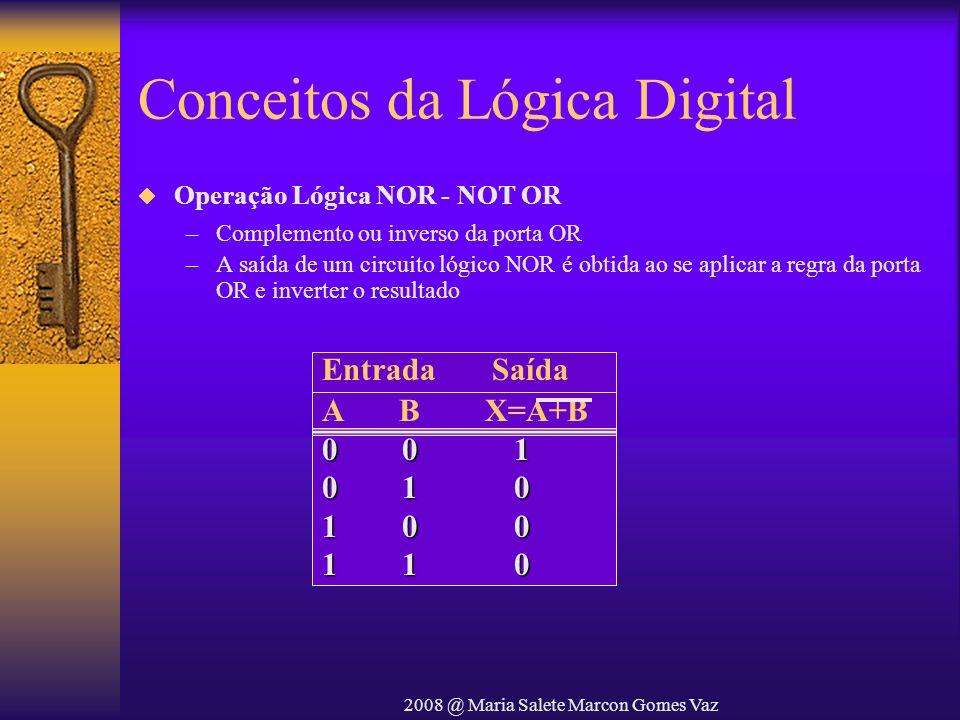 2008 @ Maria Salete Marcon Gomes Vaz Conceitos da Lógica Digital Operação Lógica NOR - NOT OR –Complemento ou inverso da porta OR –A saída de um circu