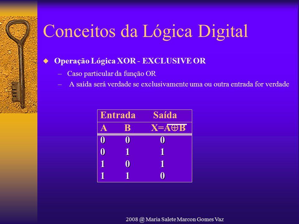 2008 @ Maria Salete Marcon Gomes Vaz Conceitos da Lógica Digital Operação Lógica XOR - EXCLUSIVE OR –Caso particular da função OR – A saída será verda