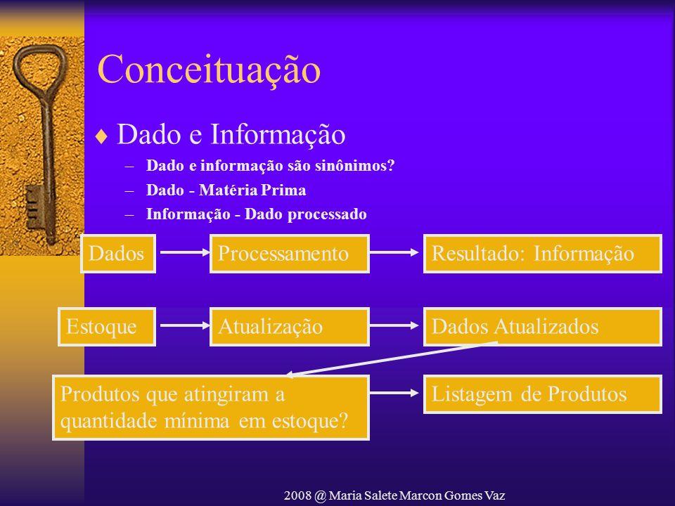 2008 @ Maria Salete Marcon Gomes Vaz Conceituação Sistemas –Conjunto de partes coordenadas que concorrem para a realização de um determinado objetivo –Conjunto de elementos identificáveis que tem entre si relações e que atuam segundo um objetivo Processamento de Dados –Série de Atividades ordenadamente realizadas, com o objetivo de produzir um arranjo determinado de informações a partir de outras obtidas inicialmente
