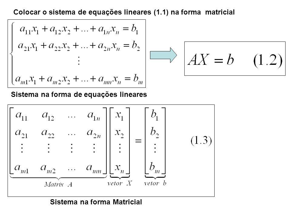 Sistema na forma Matricial Sistema na forma de equações lineares Colocar o sistema de equações lineares (1.1) na forma matricial