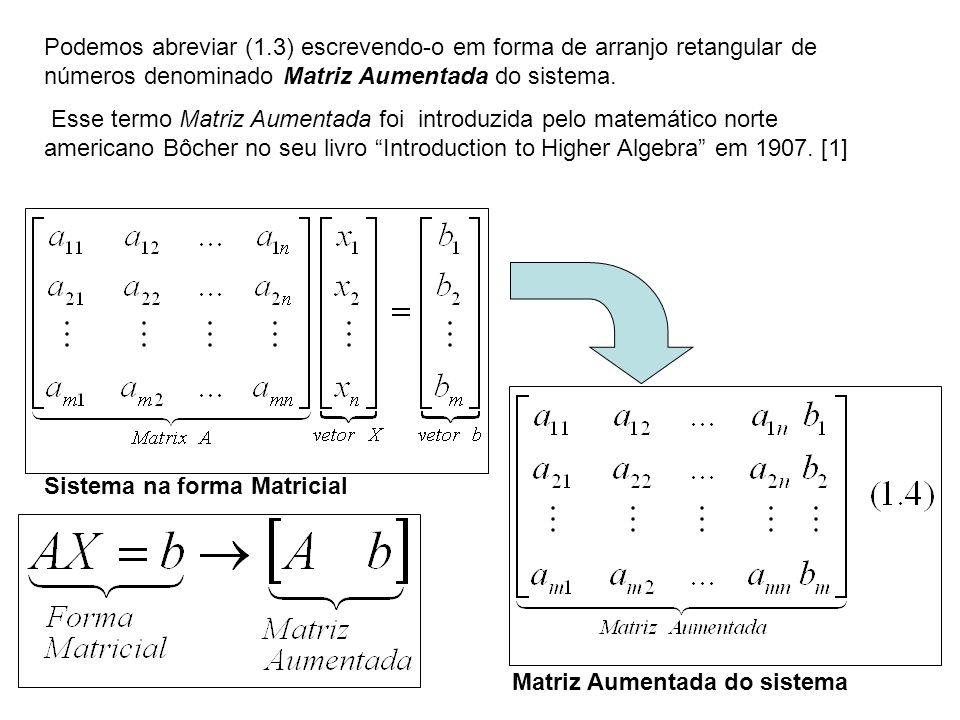 Podemos abreviar (1.3) escrevendo-o em forma de arranjo retangular de números denominado Matriz Aumentada do sistema. Esse termo Matriz Aumentada foi