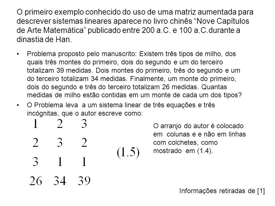 O primeiro exemplo conhecido do uso de uma matriz aumentada para descrever sistemas lineares aparece no livro chinês Nove Capítulos de Arte Matemática
