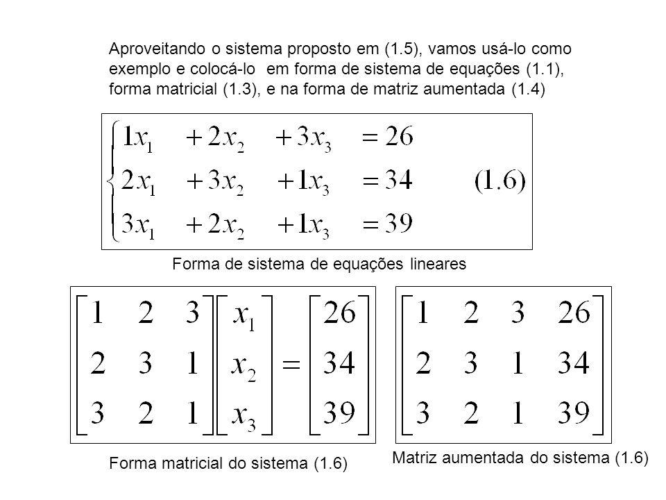 Aproveitando o sistema proposto em (1.5), vamos usá-lo como exemplo e colocá-lo em forma de sistema de equações (1.1), forma matricial (1.3), e na for