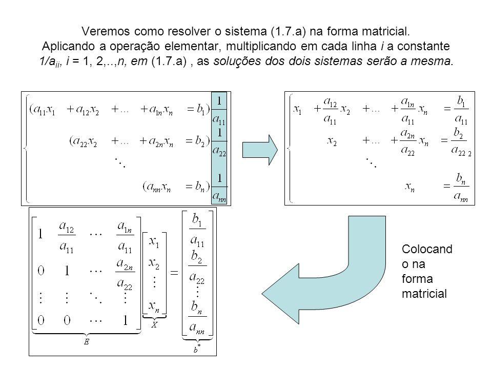 Veremos como resolver o sistema (1.7.a) na forma matricial. Aplicando a operação elementar, multiplicando em cada linha i a constante 1/a ii, i = 1, 2