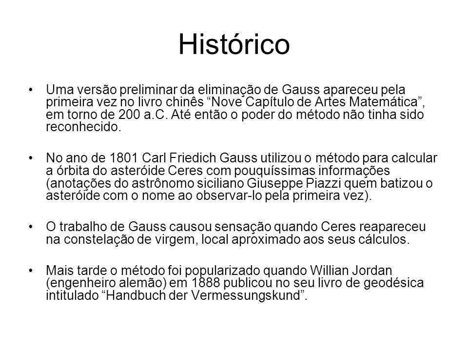 Histórico Uma versão preliminar da eliminação de Gauss apareceu pela primeira vez no livro chinês Nove Capítulo de Artes Matemática, em torno de 200 a