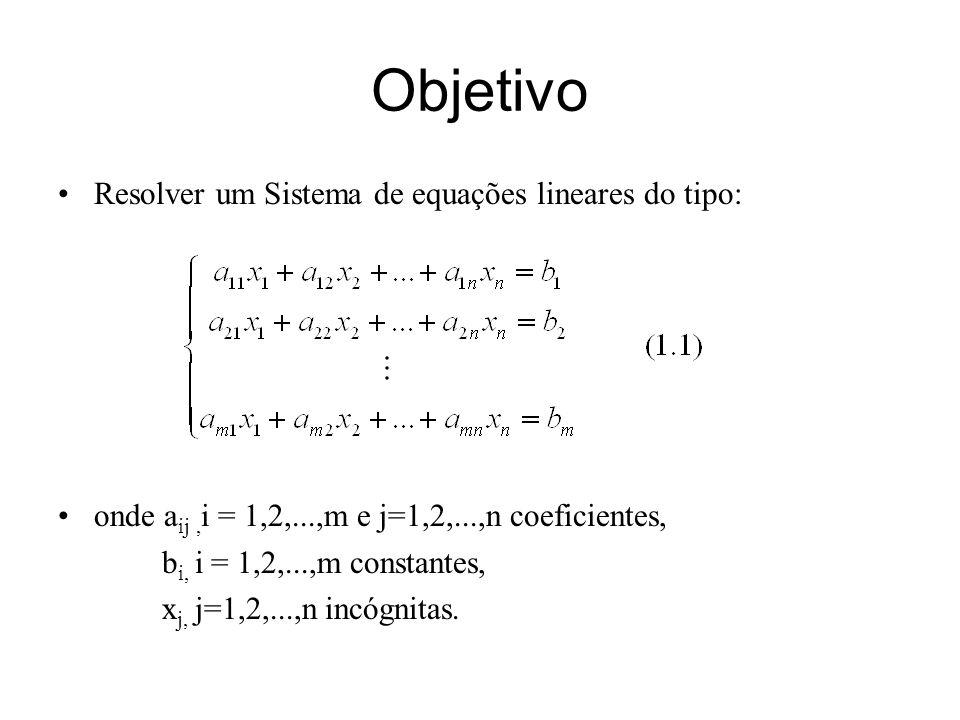 Objetivo Resolver um Sistema de equações lineares do tipo: onde a ij, i = 1,2,...,m e j=1,2,...,n coeficientes, b i, i = 1,2,...,m constantes, x j, j=