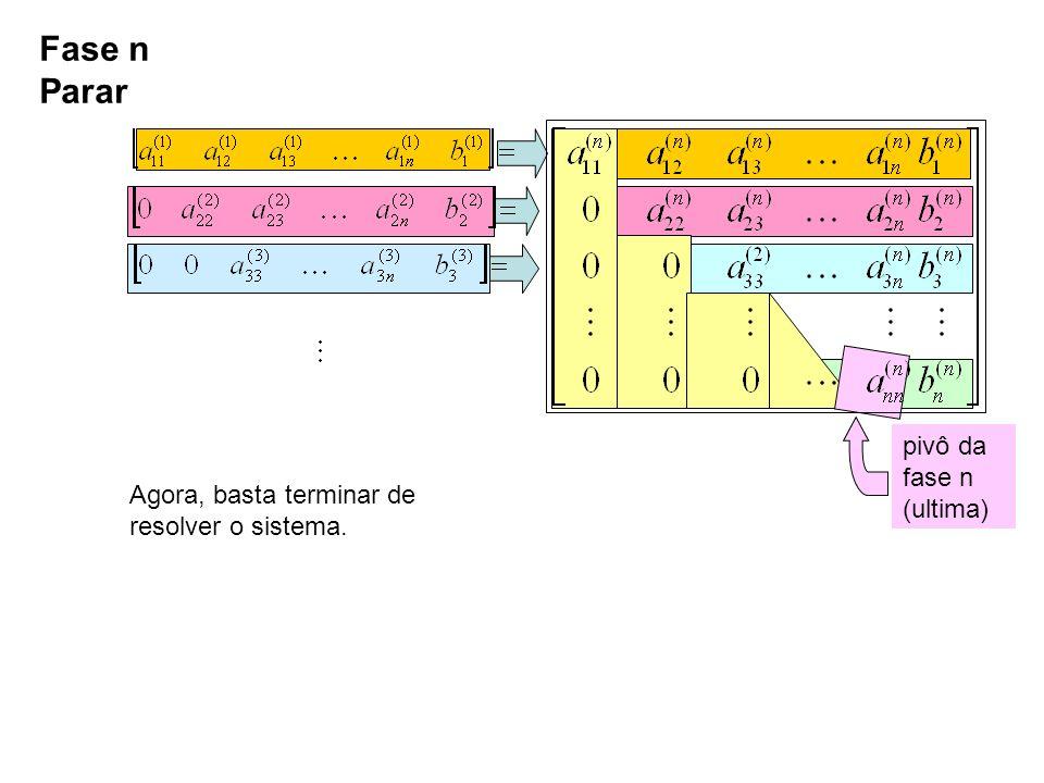 Fase n Parar pivô da fase n (ultima) Agora, basta terminar de resolver o sistema.