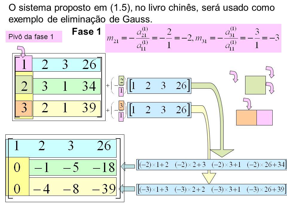 O sistema proposto em (1.5), no livro chinês, será usado como exemplo de eliminação de Gauss. Pivô da fase 1 Fase 1