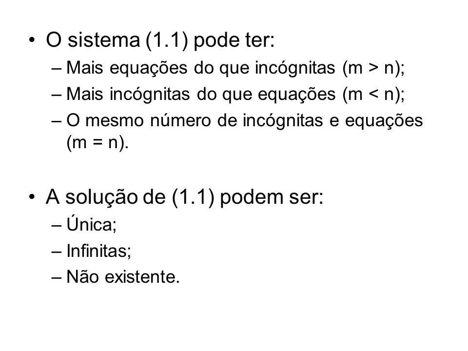 O sistema (1.1) pode ter: –Mais equações do que incógnitas (m > n); –Mais incógnitas do que equações (m < n); –O mesmo número de incógnitas e equações