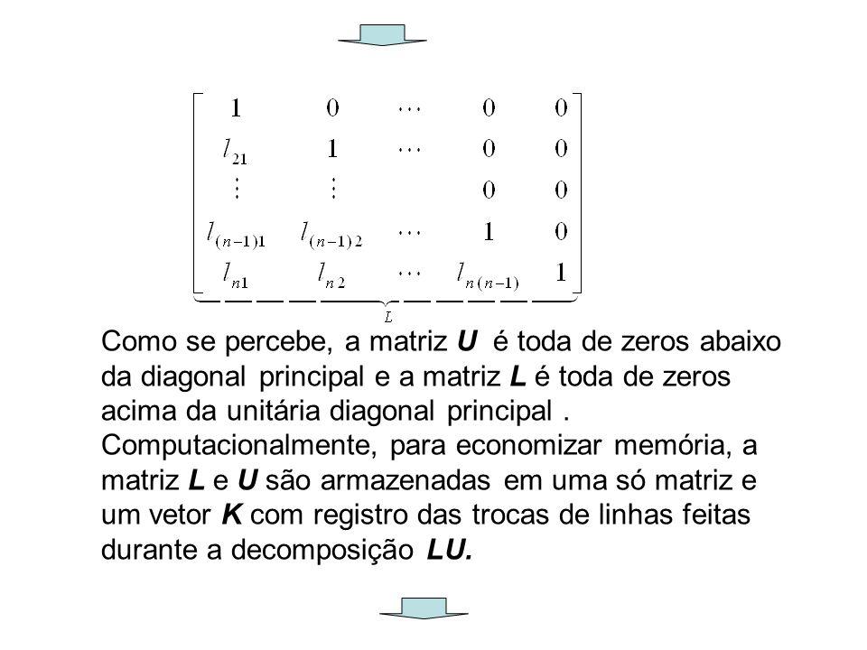 Como se percebe, a matriz U é toda de zeros abaixo da diagonal principal e a matriz L é toda de zeros acima da unitária diagonal principal. Computacio