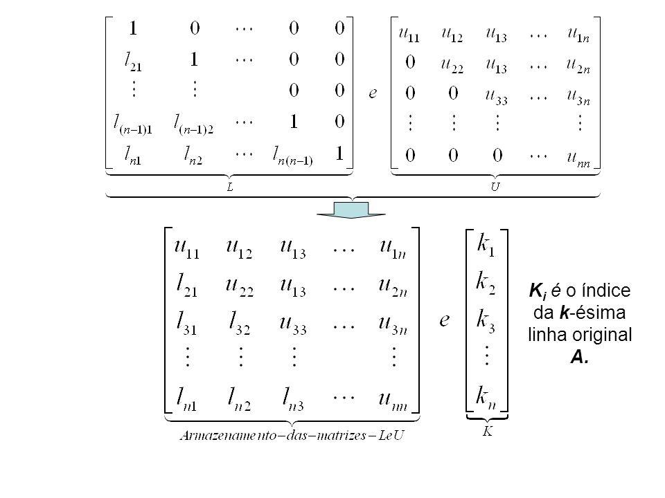 K i é o índice da k-ésima linha original A.