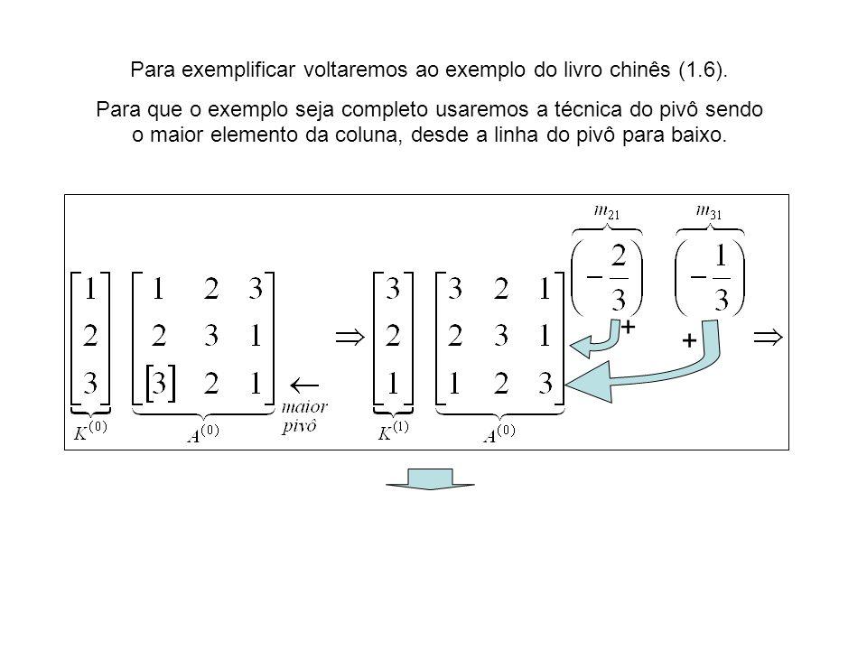 Para exemplificar voltaremos ao exemplo do livro chinês (1.6). Para que o exemplo seja completo usaremos a técnica do pivô sendo o maior elemento da c