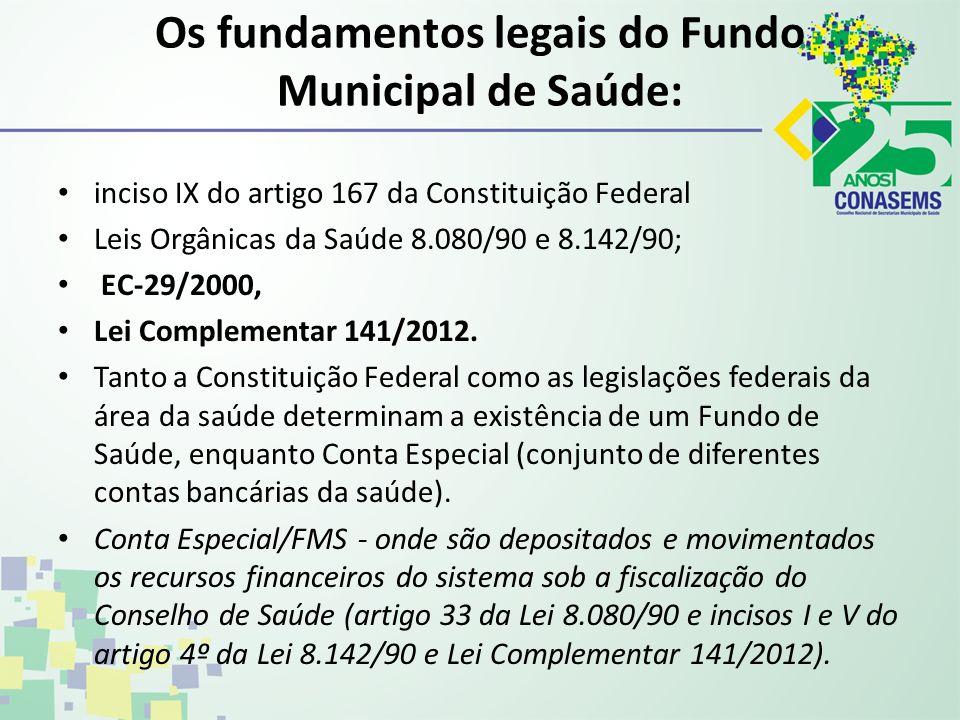Os fundamentos legais do Fundo Municipal de Saúde: inciso IX do artigo 167 da Constituição Federal Leis Orgânicas da Saúde 8.080/90 e 8.142/90; EC-29/