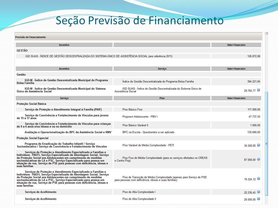 Seção Resumo Executivo -Valor Total Previsto a ser repassado pelo FNAS é a soma de todos os valores da Previsão de Financiamento e multiplicados por 12.
