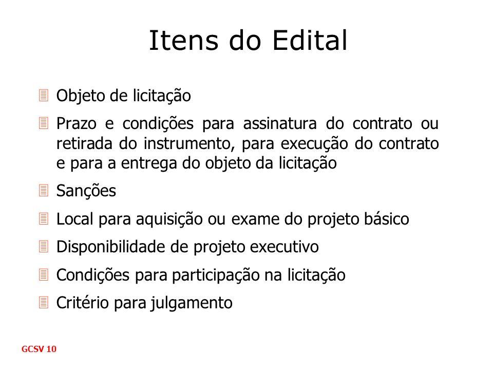 Itens do Edital 3Objeto de licitação 3Prazo e condições para assinatura do contrato ou retirada do instrumento, para execução do contrato e para a ent