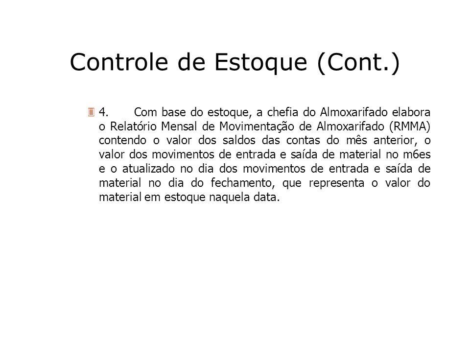 Controle de Estoque (Cont.) 34.Com base do estoque, a chefia do Almoxarifado elabora o Relatório Mensal de Movimentação de Almoxarifado (RMMA) contend
