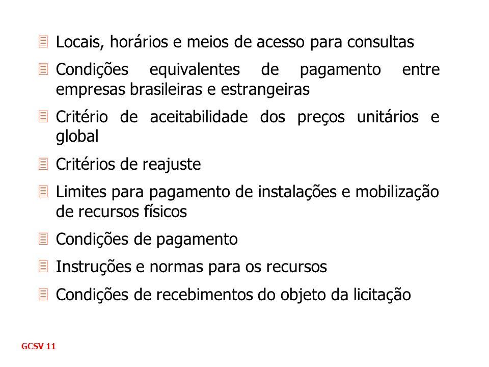 3Locais, horários e meios de acesso para consultas 3Condições equivalentes de pagamento entre empresas brasileiras e estrangeiras 3Critério de aceitab