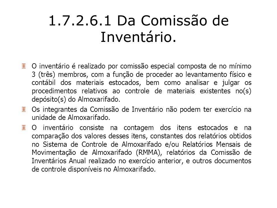 1.7.2.6.1 Da Comissão de Inventário. 3O inventário é realizado por comissão especial composta de no mínimo 3 (três) membros, com a função de proceder