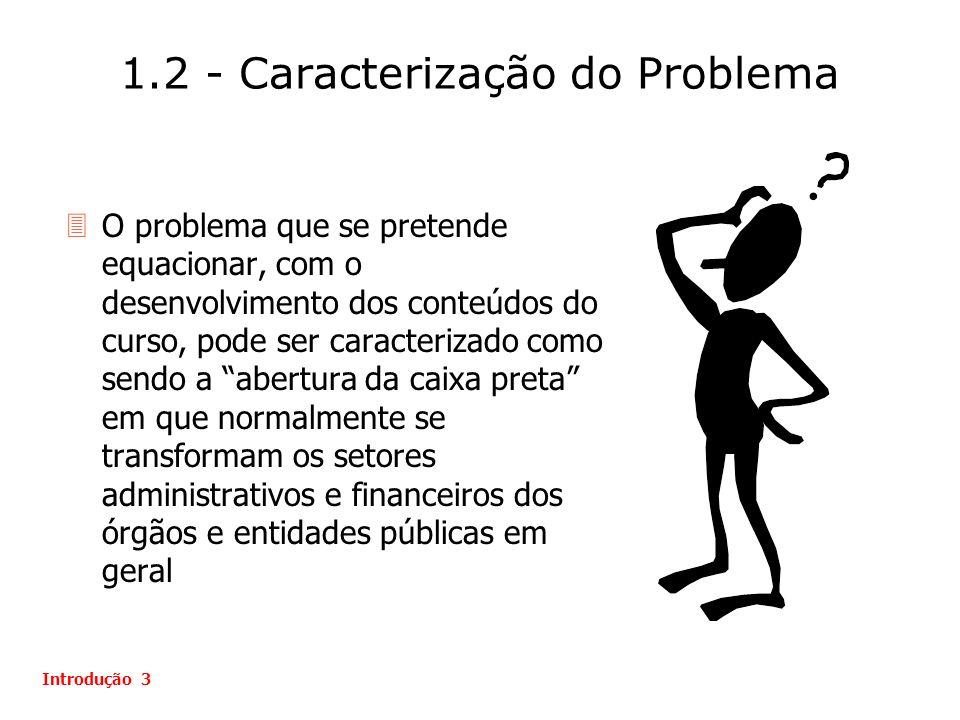 1.2 - Caracterização do Problema Introdução 3 3O problema que se pretende equacionar, com o desenvolvimento dos conteúdos do curso, pode ser caracteri