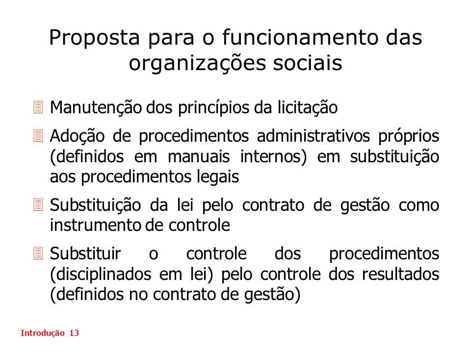Proposta para o funcionamento das organizações sociais Introdução 13 3Manutenção dos princípios da licitação 3Adoção de procedimentos administrativos