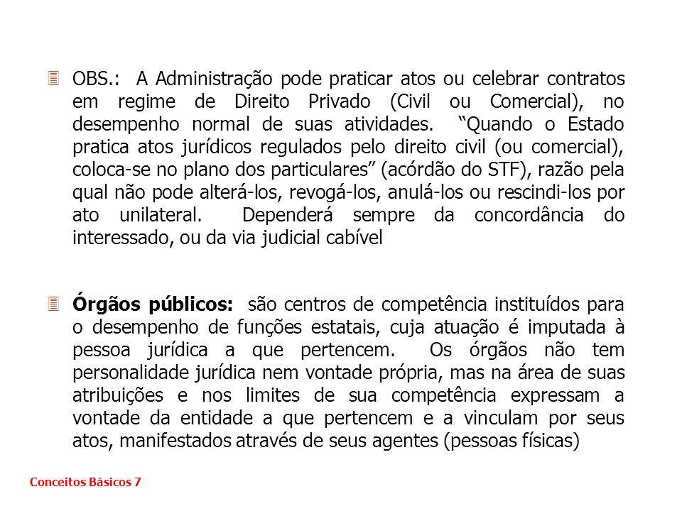 3OBS.: A Administração pode praticar atos ou celebrar contratos em regime de Direito Privado (Civil ou Comercial), no desempenho normal de suas ativid