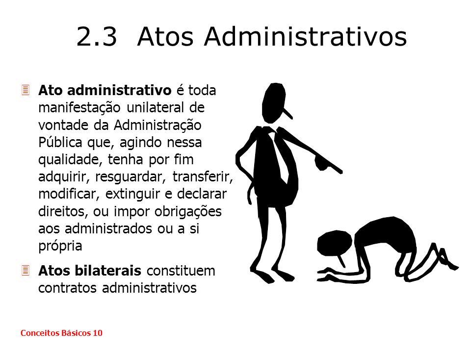 2.3 Atos Administrativos 3Ato administrativo é toda manifestação unilateral de vontade da Administração Pública que, agindo nessa qualidade, tenha por