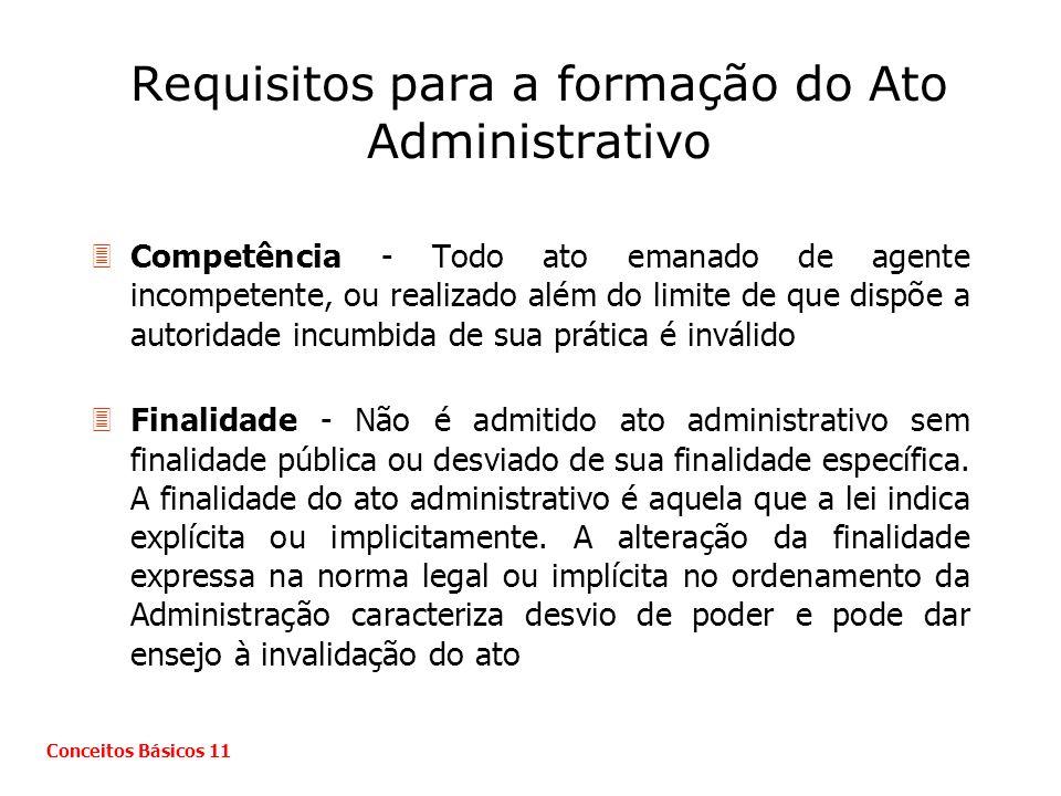 Requisitos para a formação do Ato Administrativo 3Competência - Todo ato emanado de agente incompetente, ou realizado além do limite de que dispõe a a