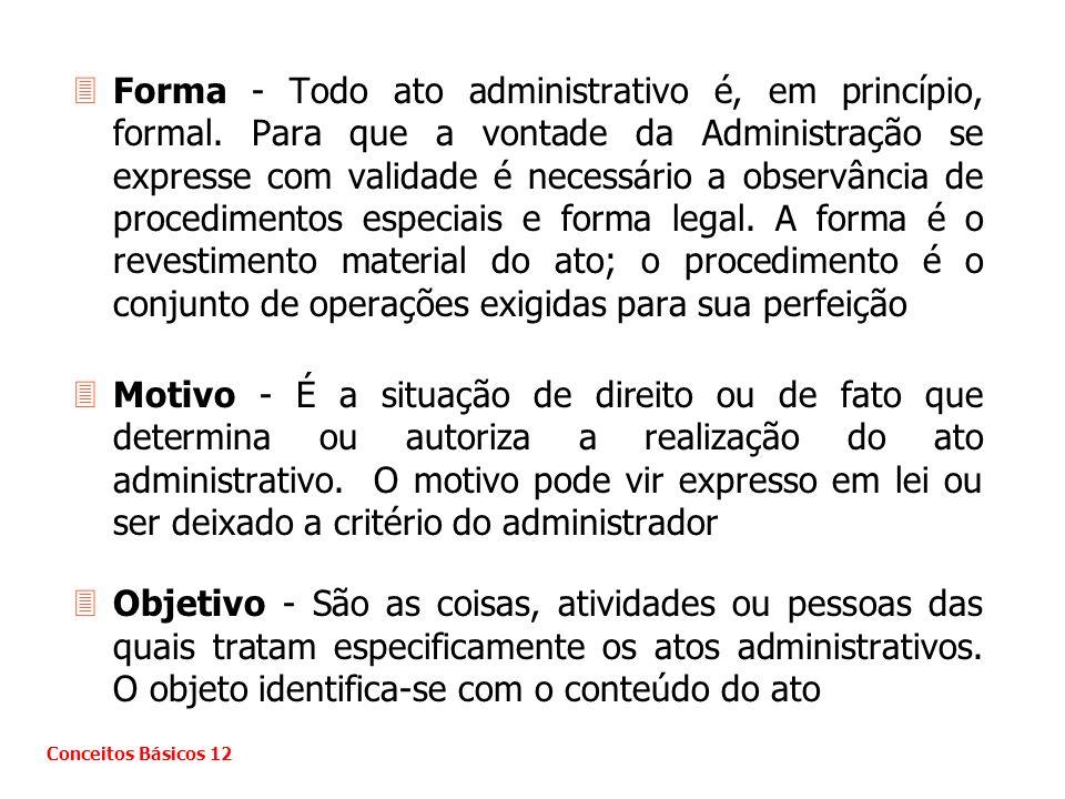 3Forma - Todo ato administrativo é, em princípio, formal. Para que a vontade da Administração se expresse com validade é necessário a observância de p