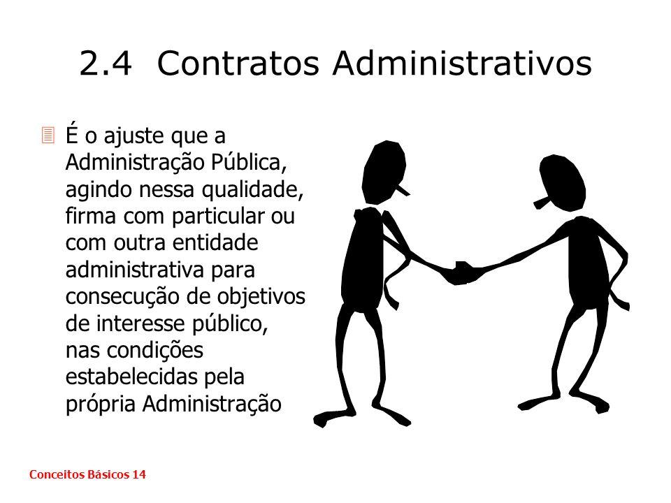 2.4 Contratos Administrativos 3É o ajuste que a Administração Pública, agindo nessa qualidade, firma com particular ou com outra entidade administrati