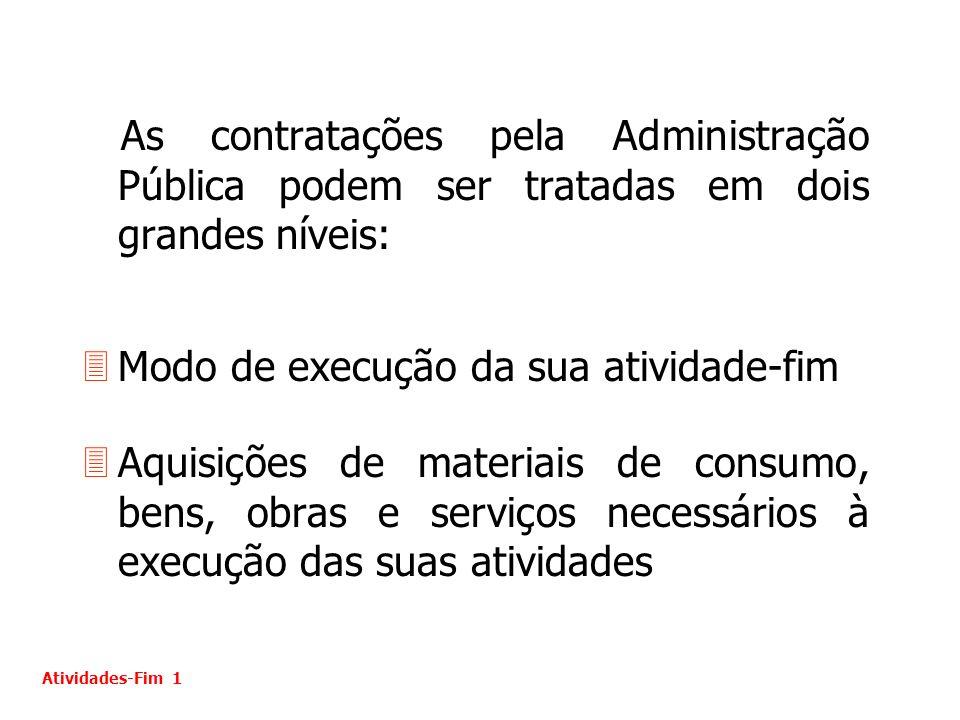 As contratações pela Administração Pública podem ser tratadas em dois grandes níveis: 3Modo de execução da sua atividade-fim 3Aquisições de materiais