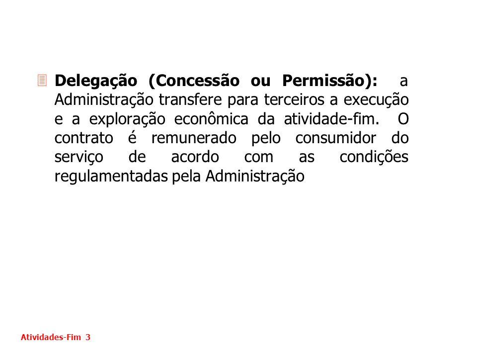 3Delegação (Concessão ou Permissão): a Administração transfere para terceiros a execução e a exploração econômica da atividade-fim. O contrato é remun