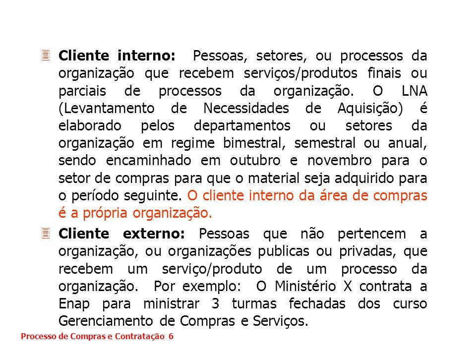 3Cliente interno: Pessoas, setores, ou processos da organização que recebem serviços/produtos finais ou parciais de processos da organização. O LNA (L