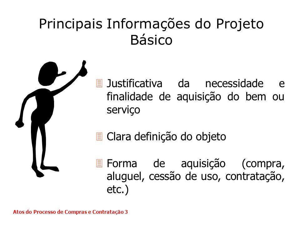 Principais Informações do Projeto Básico 3Justificativa da necessidade e finalidade de aquisição do bem ou serviço 3Clara definição do objeto 3Forma d