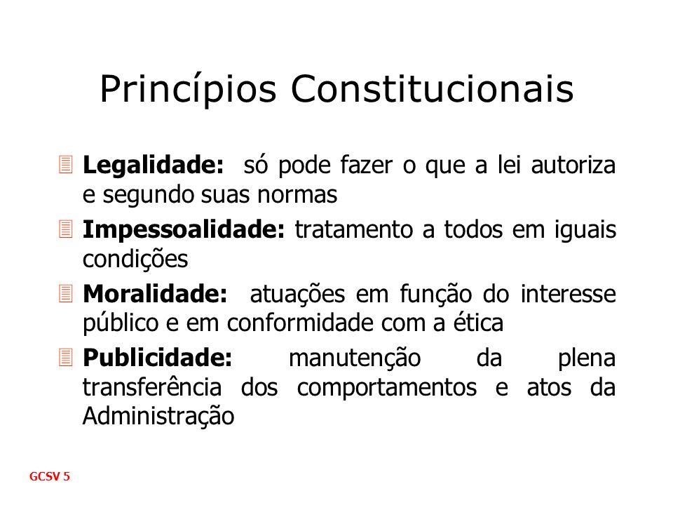 Princípios Constitucionais 3Legalidade: só pode fazer o que a lei autoriza e segundo suas normas 3Impessoalidade: tratamento a todos em iguais condiçõ