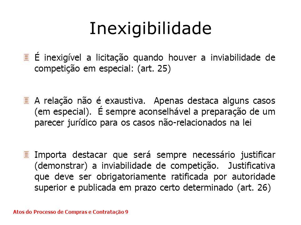 Inexigibilidade 3É inexigível a licitação quando houver a inviabilidade de competição em especial: (art. 25) 3A relação não é exaustiva. Apenas destac