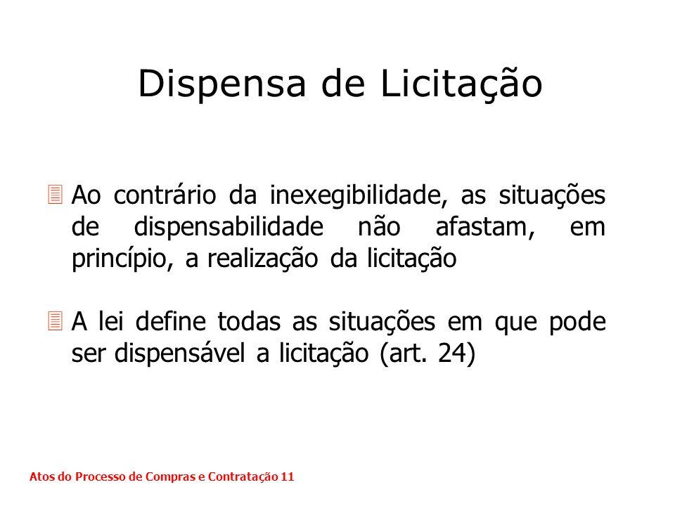 Dispensa de Licitação 3Ao contrário da inexegibilidade, as situações de dispensabilidade não afastam, em princípio, a realização da licitação 3A lei d